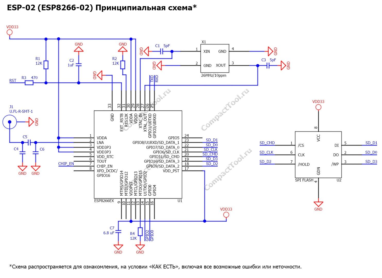 Принципиальная схема ESP-02 Principal scheme