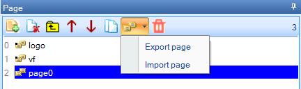 Импорт и экспорт страницы в панеле Page