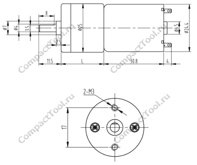 Габаритные размеры мотора-редуктора JGA25-370