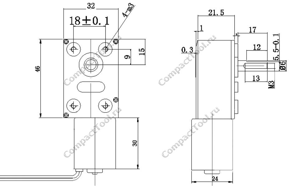 Габаритные размеры мотора-редуктора JGY-2430