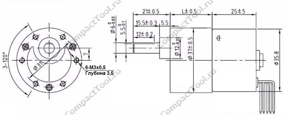 Габаритные размеры мотора-редуктора JGB37-3625