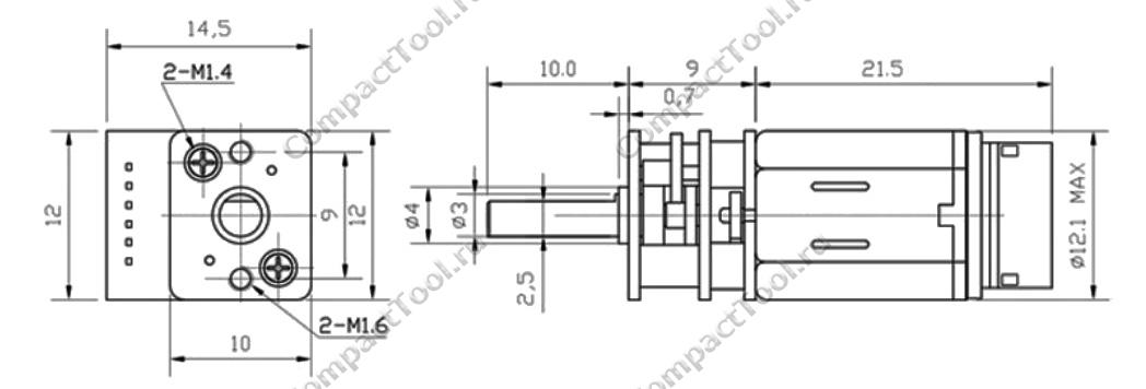 Габаритные размеры мотора-редуктора с энкодером JA12-N20B