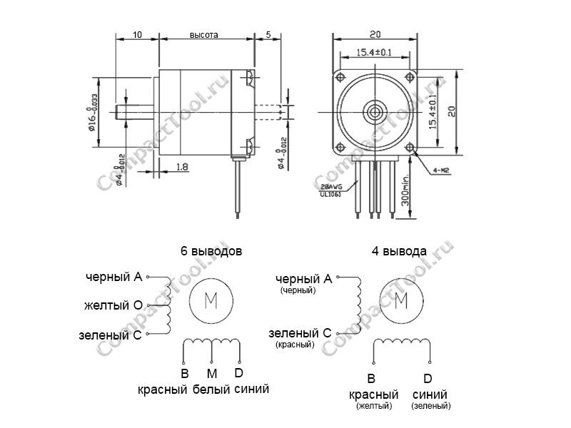 Габаритные размеры шагового двигателя Nema 8