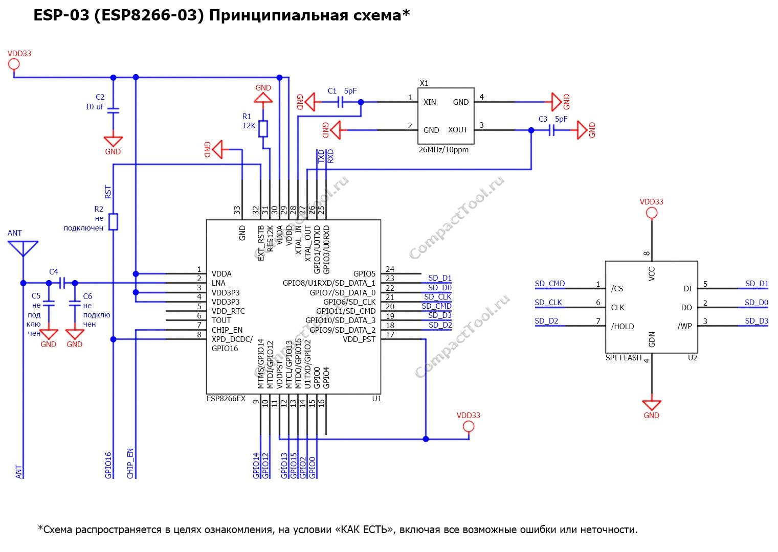 Принципиальная схема ESP-03 Principal scheme