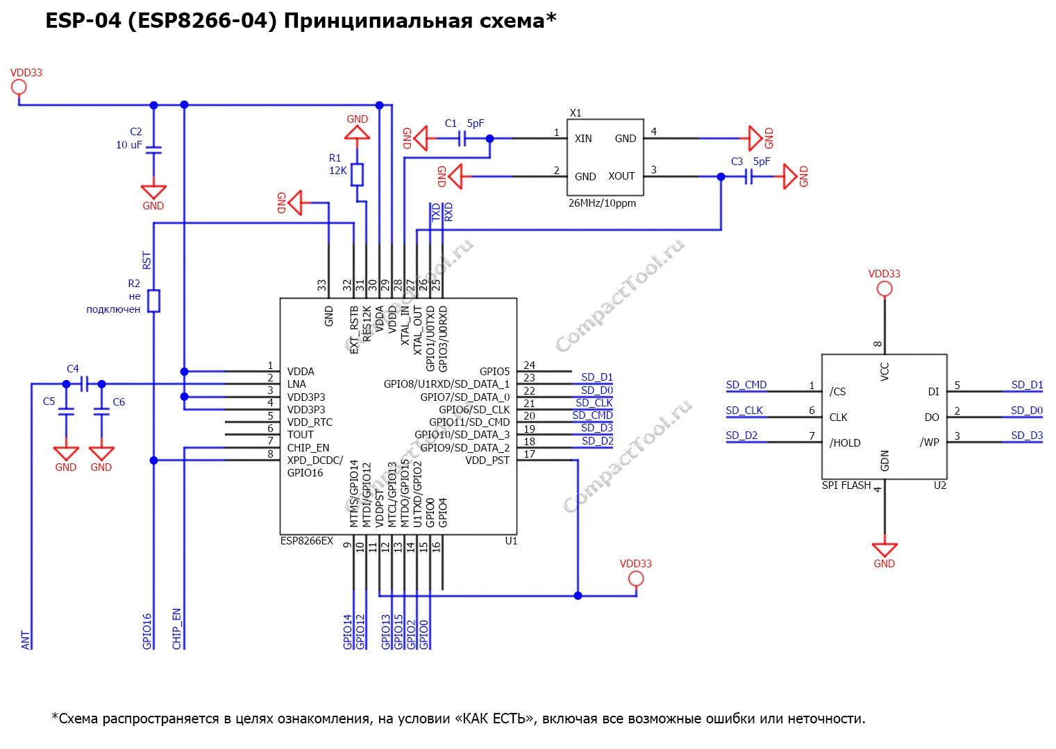 Принципиальная схема ESP-04 Principal scheme