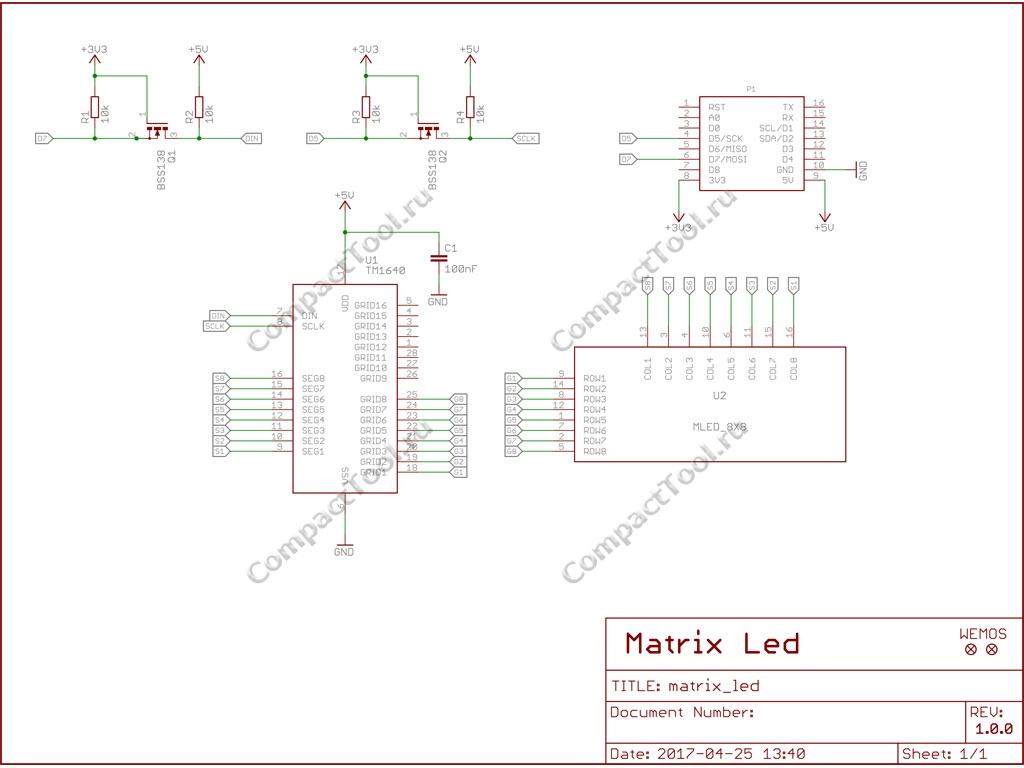 Wemos Matrix Led Shield Shematic V1.0.0