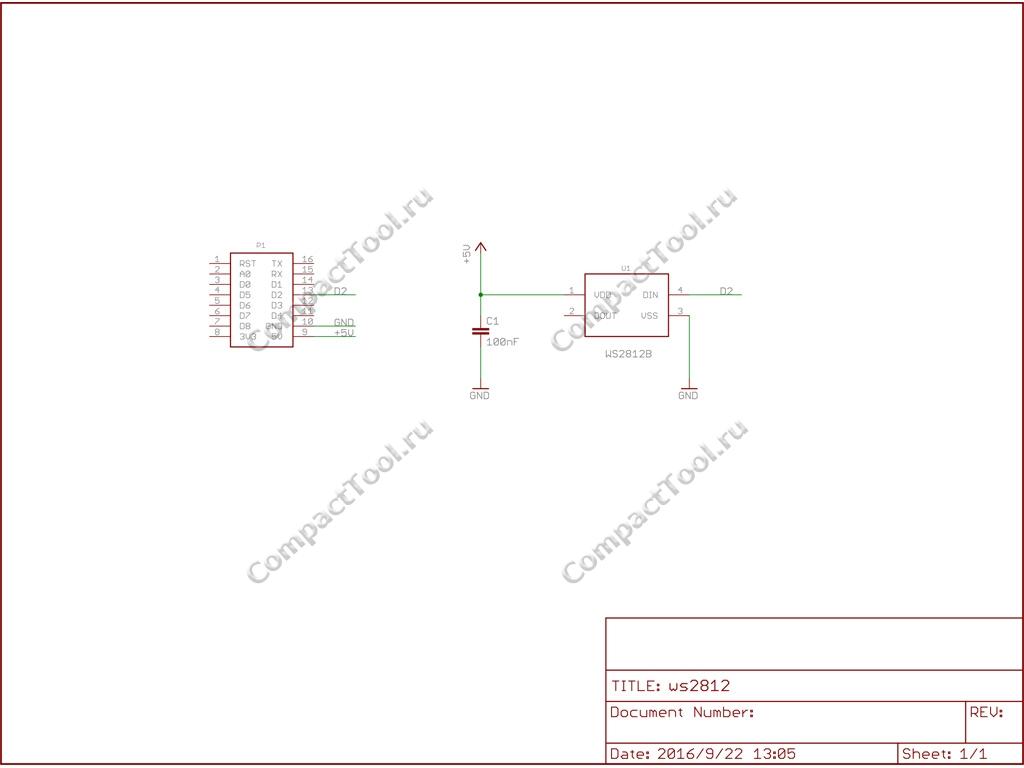 Принципиальная схема WS2812B RGB Shield Wemos Schematic