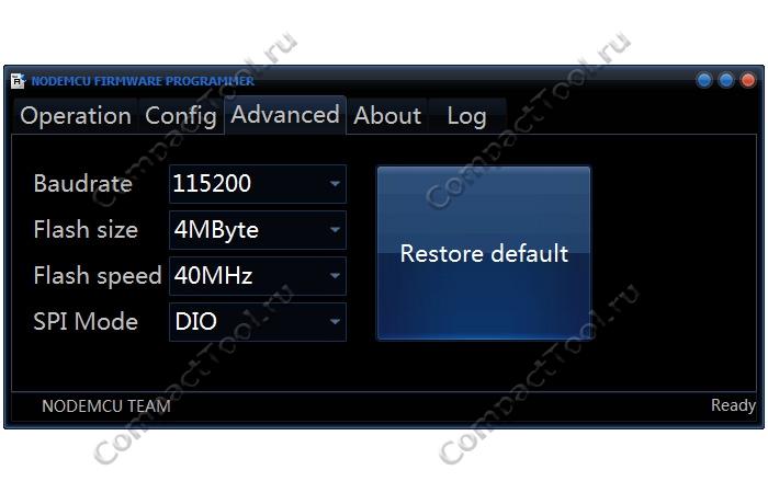 Настройка скорости и размера памяти WeMos ESP во вкладке Advanced NodeMCU Flasher