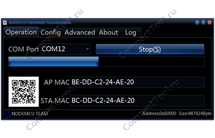 Завершение процесса прошивки WeMos ESP NodeMCU Flasher