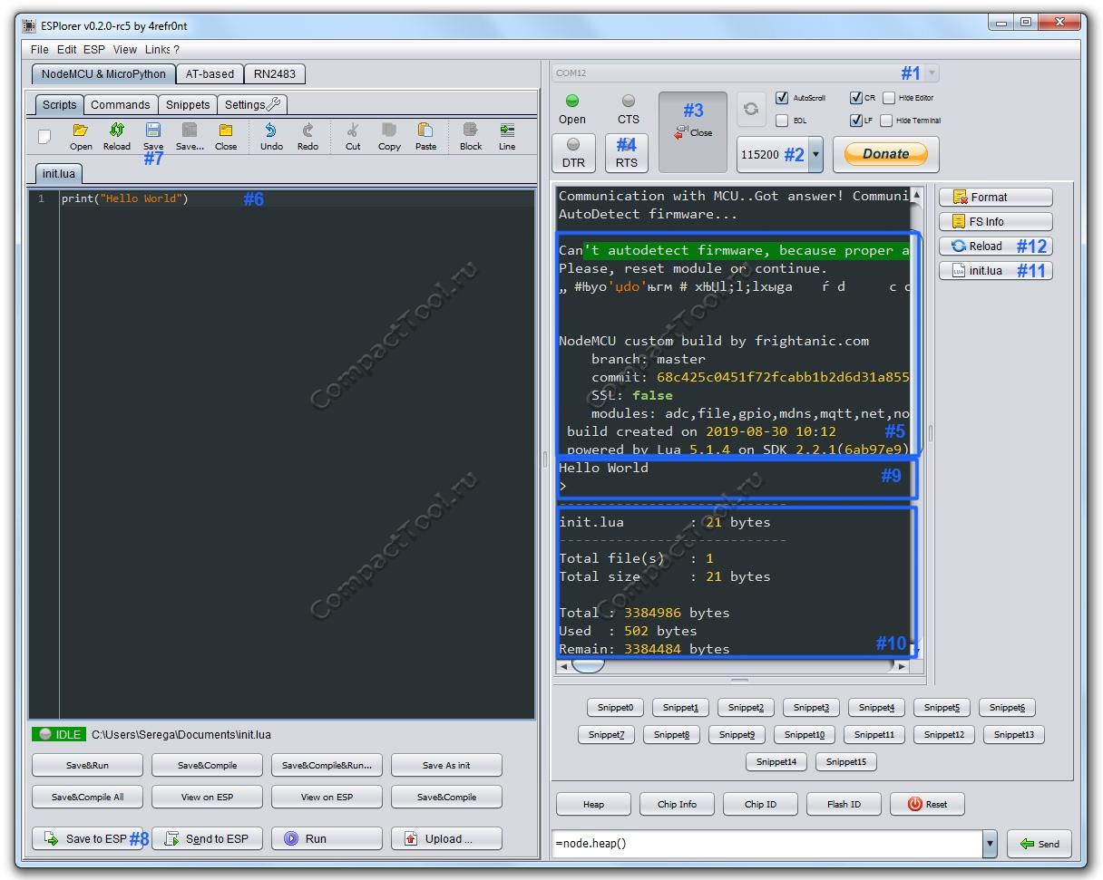 Пример программирования WeMos на интерпретаторе NodeMCU Lua