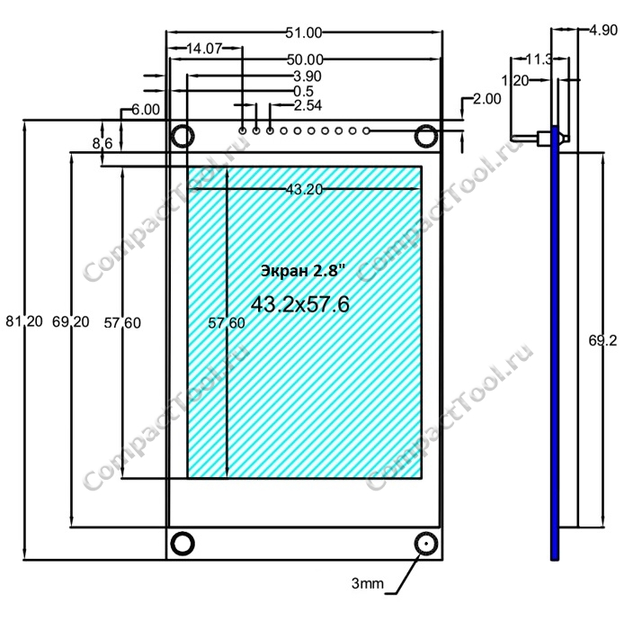 физические размеры экранного модуля 2.8 дюйма с банком шрифтов 240*320 ILI9341