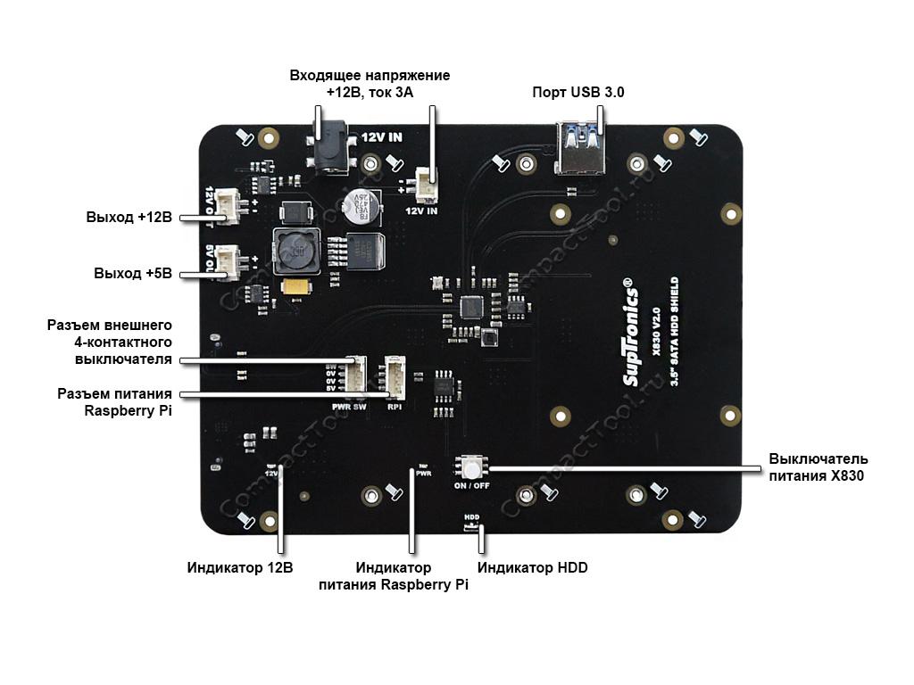 Элементы платы модуля SupTronics X830 V2.0
