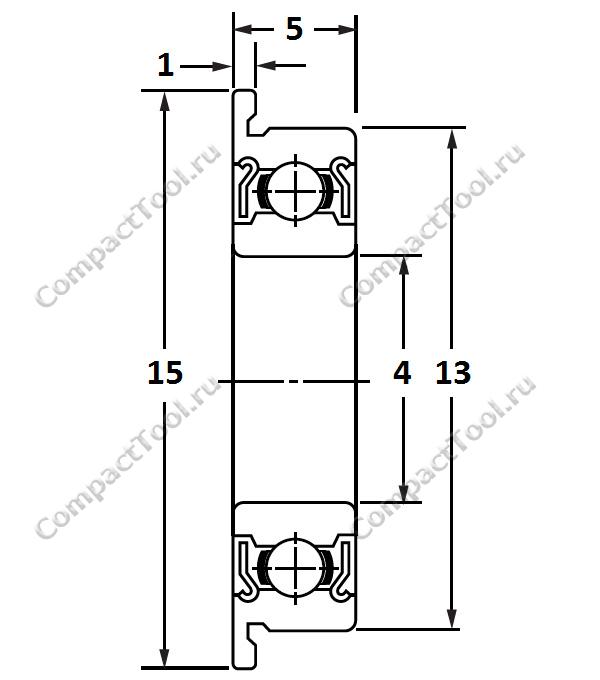 Физические размеры радиального шарикового подшипника с упорным бортиком (фланцем) F624ZZ