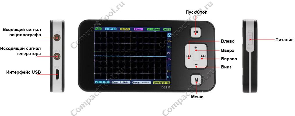 Элементы управления осциллографом DS211