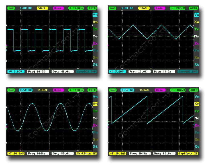 Разновидность форм генерируемых сигналов DS211
