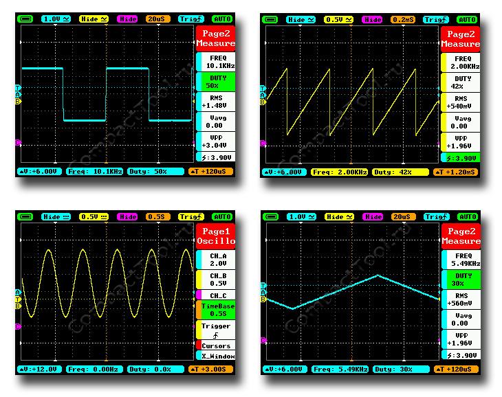 Разновидность форм генерируемых сигналов DS212