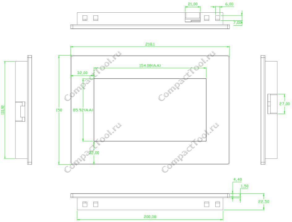 Габаритный чертёж корпуса-рамки NEXTION NX8048K070-11C