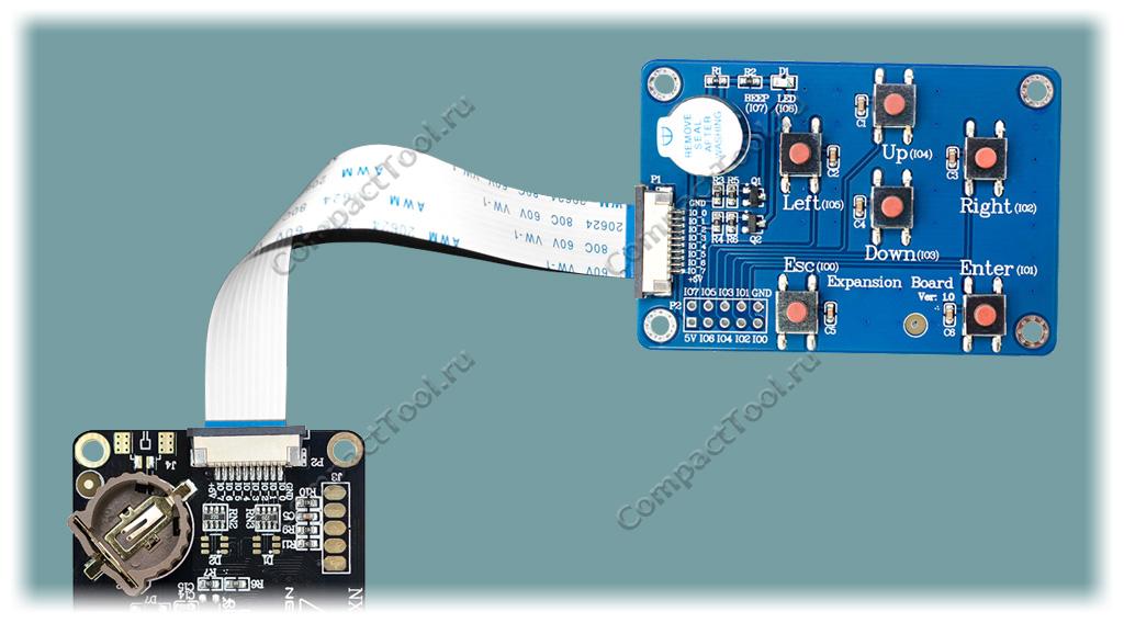 Подключение адаптера NEXTION IO ADAPTER к дисплейному модулю