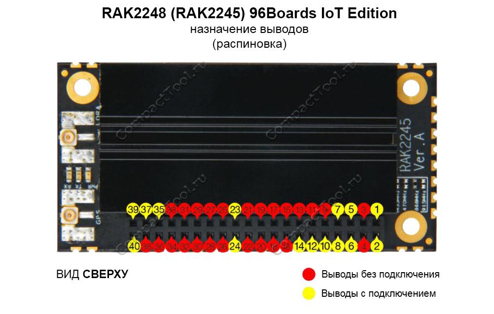 Функциональное назначение выводов (распиновка) RAK2248 (2245) 96Boards IoT Editions
