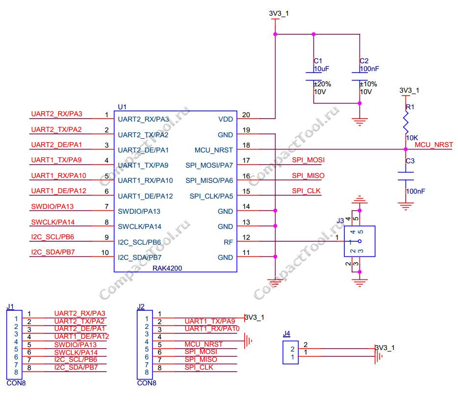Принципиальная схема RAK4200 Breakout Board