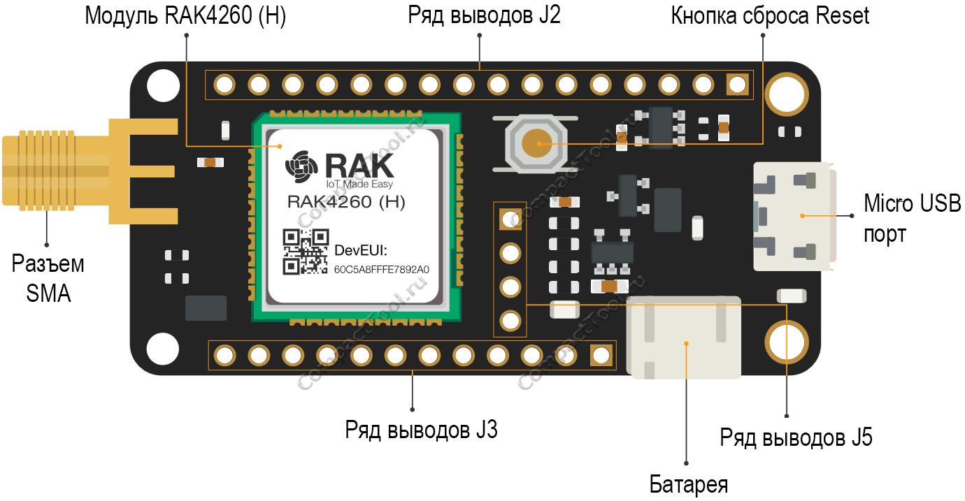Расположение компонентов RAK3244 BastWAN Breakout Board