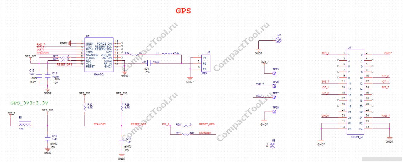 Принципиальная схема модуля WisBlock RAK1910 GNSS loaction Module