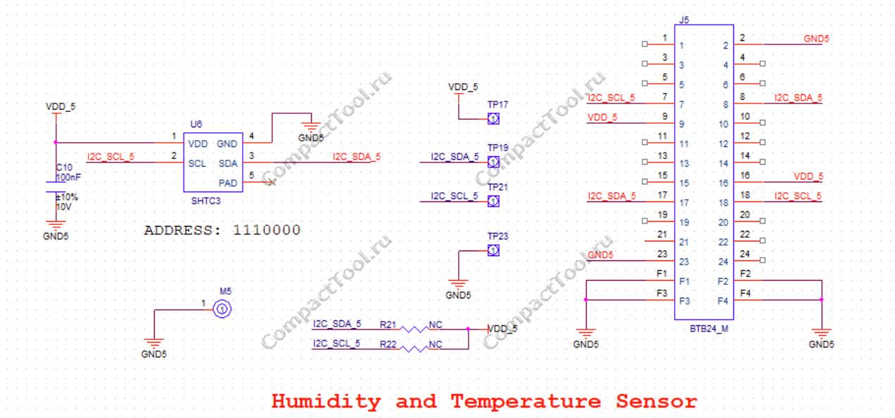 Принципиальная схема RAK1901 Termperature and Humidity Sensor