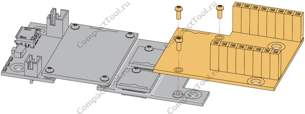 Монтажный чертёж RAK1920 WisBlock Sensor Adapter Module for Click boards, QWIIC connector, Groove