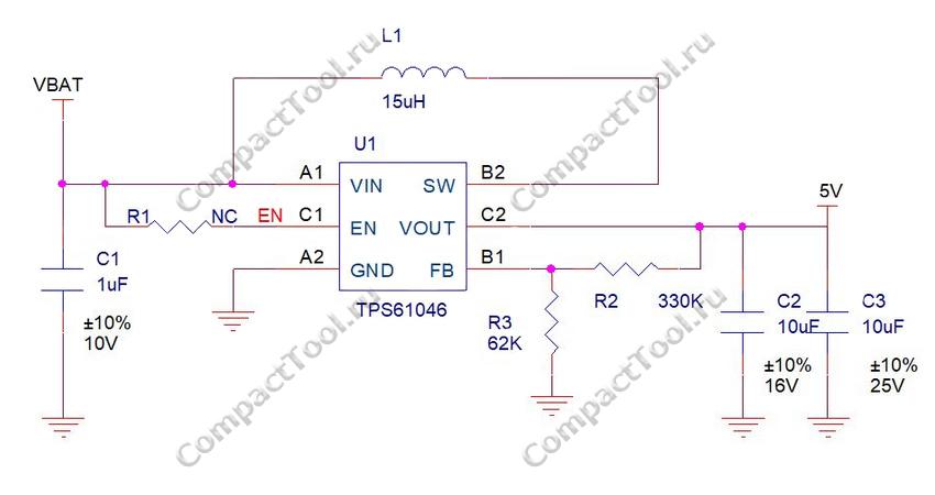 Принципиальная схема преобразователя напряжения RAK1920 WisBlock Sensor Adapter Module
