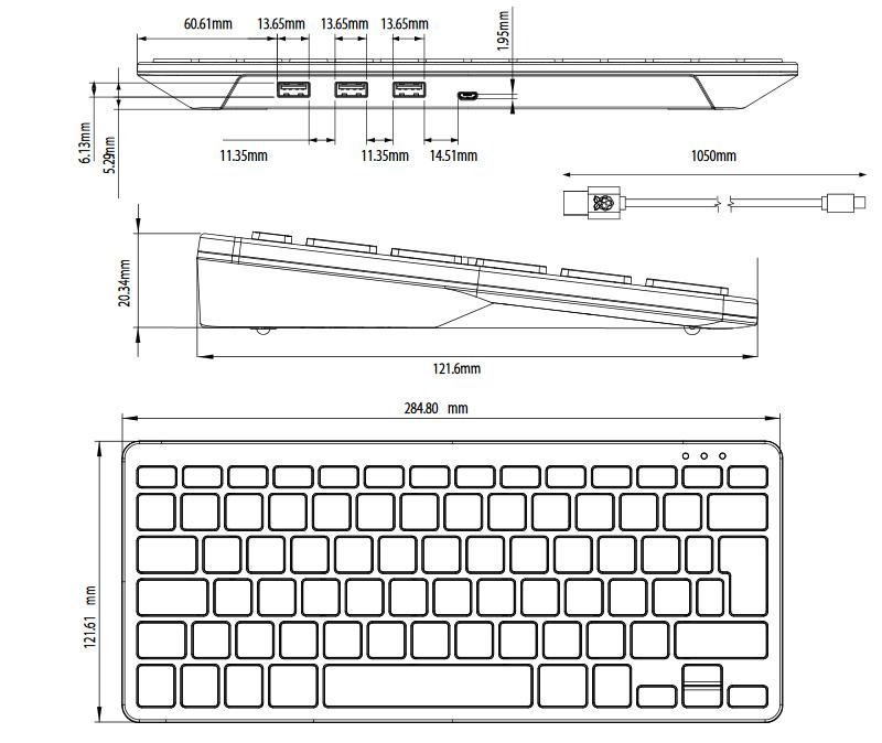 Физические размеры клавиатуры Raspberry Pi Keyboard