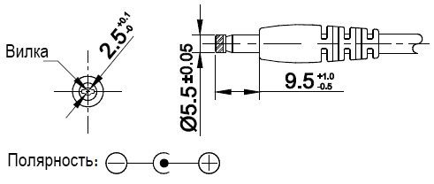 Штекер внешнего источника питания модуля SupTronics X200