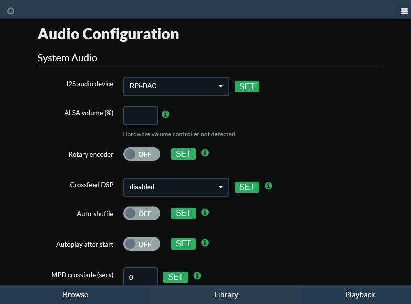 Воспроизведение i2S в Moode Audio Player. Программная настройка SupTronics X4000