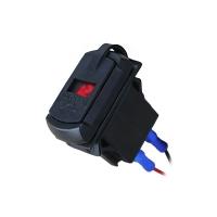 Встраиваемый  USB-адаптер 2 х 5В 4,2А с вольтметром, красный дисплей