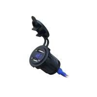 Встраиваемый USB-адаптер 2 х 5В 4.2А с вольтметром, синий дисплей