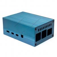 Корпус алюминиевый для Raspberry Pi 4 синий с вентилятором