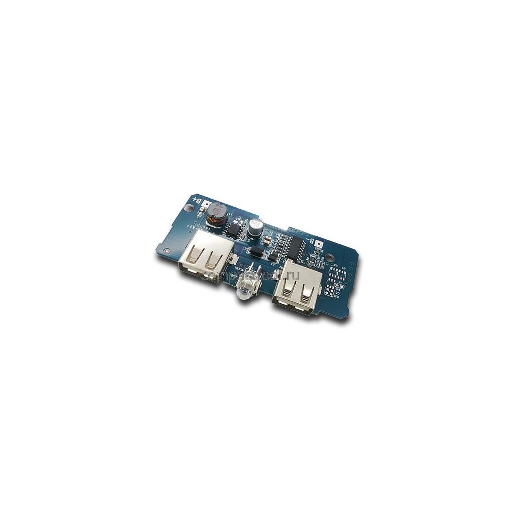 Модуль Power Bank  2*USB 1A 2.1A (синяя)