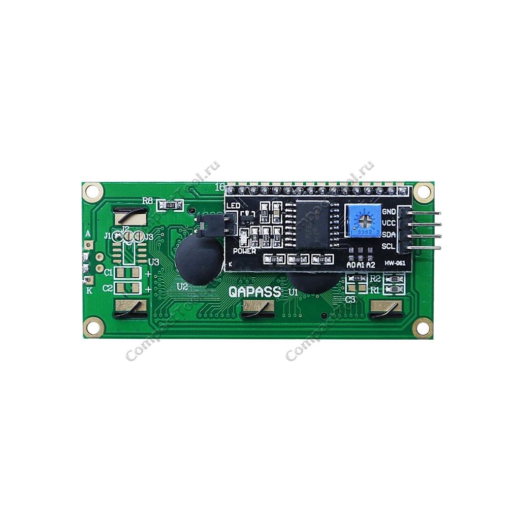 Дисплей символьный LCD1602 с синей подсветкой со встроенным модулем  I2C