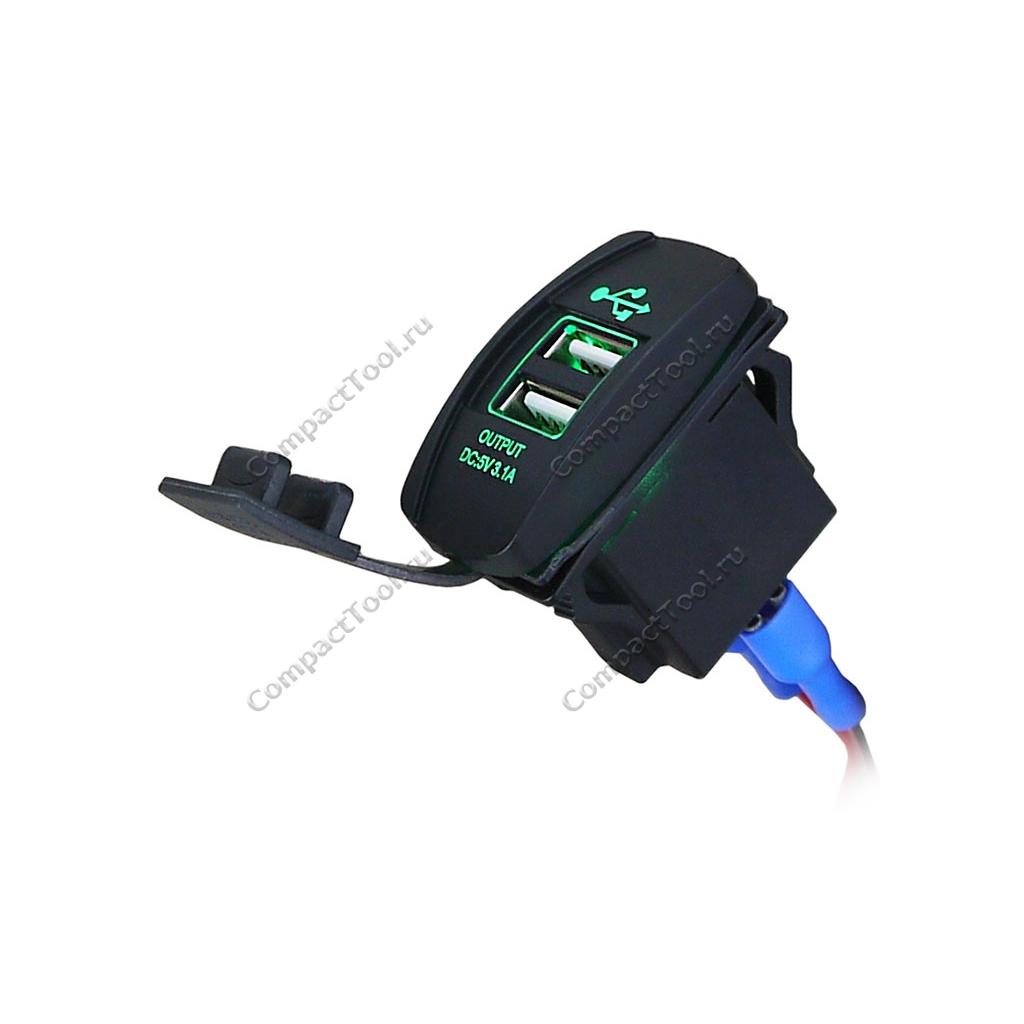 Встраиваемый USB-адаптер 2 х 5В 3.1А зеленый