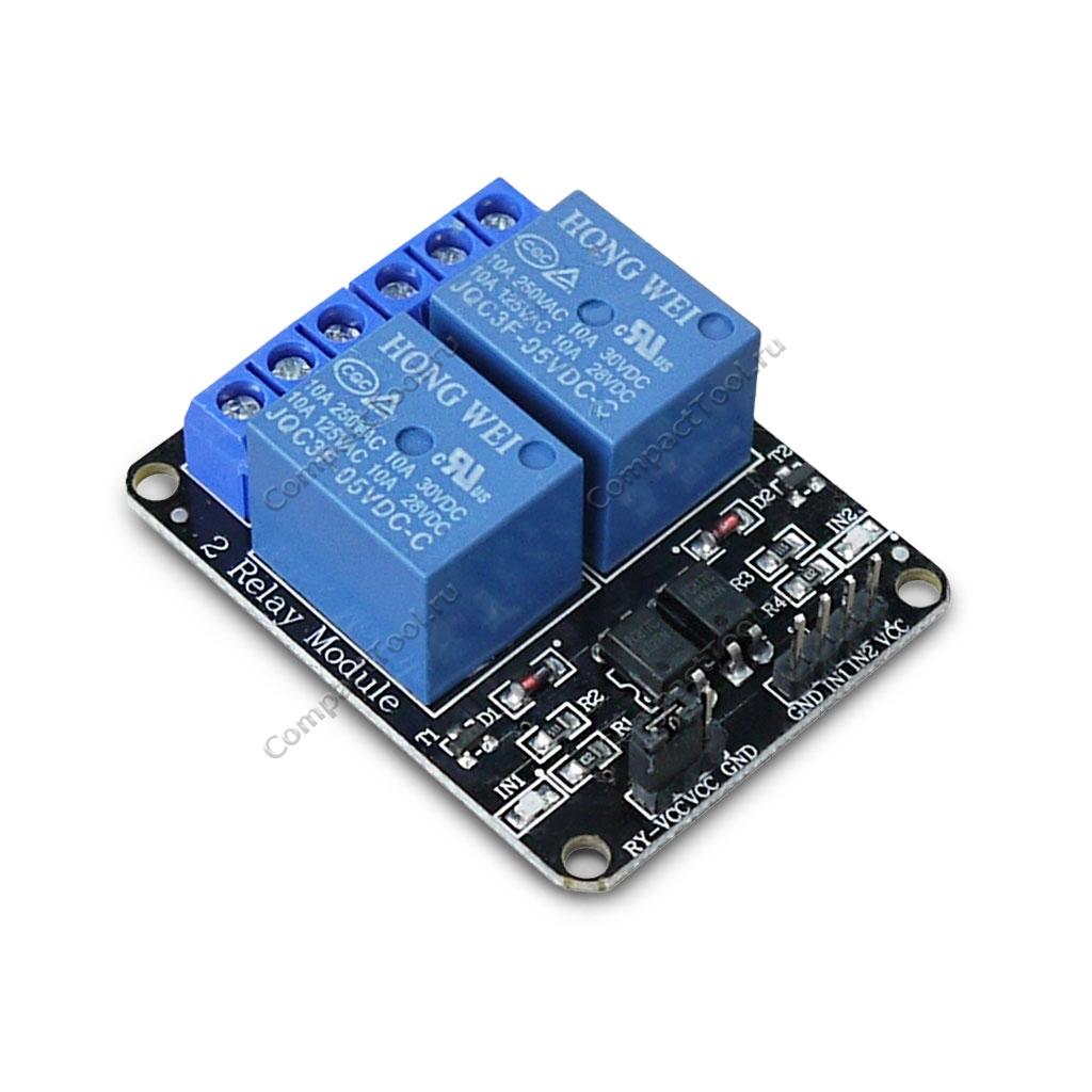 Модуль реле электромеханическое на 2 канала с оптопарой, 5 В