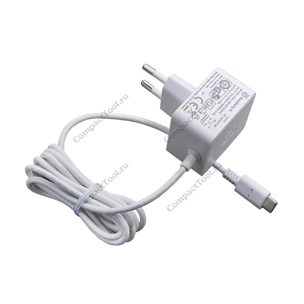Оригинальный блок питания 15.3Вт USB-C для Raspberry Pi 4 белого цвета